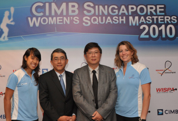 Nicol David (CIMB Squash Ambassador), Mak Lye Mun (Country Head, CIMB Group Singapore and CEO, CIMB Bank Singapore), Desmond Hill (President, SSRA), Natalie Grainger (President, WISPA)